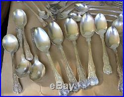 Vtg LOT 58 USN Navy KINGS Silverplate Spoon Knife Fork Sheffield International++