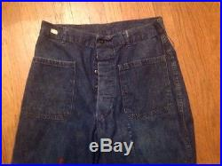 Vtg Rare US Navy WW2 Indigo Denim Stencil Dungaree Pants Trousers 32 29 usa