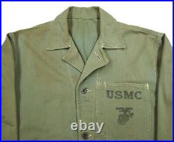 Vtg WW2 HBT P41 USMC Jacket S to M shirt 1940s Marines USN Herringbone Twill