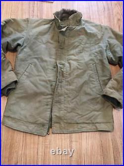Vtg WW2 USN Deck Jacket sz 38 N1 Stenciled 1940s work US Navy Rare Early