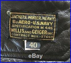 Vtg Willis & Geiger WWII Style US Navy M-445 Heavy Winter Flight Jacket Sz 40 B3