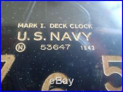 WOW Old 1943 WWII US Navy Ships Deck Clock Mark I 53647 USN WAR Chelsea Bakelite