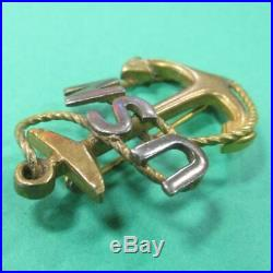 WW1 Era US Navy Chief Petty Officer Cap Pin Badge Anchor USN Rope Pin Back