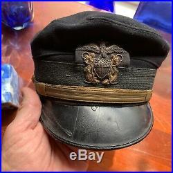 WW1 U. S. Naval Officers Bell Crown Hat-Navy Blue Wool