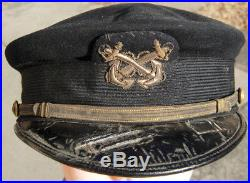 WW1 US Navy Warrant Officer Visor Bell Crown Hat Navy Blue Wool