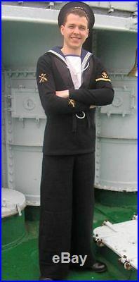 WW2 British Royal Navy Ratings Sailors square rig vintage serge wool uniform, RN