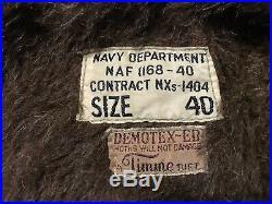 WW2 US Navy Jacket Nxs-1404 NAF 1168-40 Demotex Timme Tuft 40 WWII Flight Crew