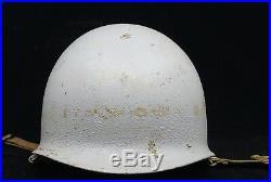 WW2 US USN Navy M1 Helmet Shell Front Seam Swivel Bale