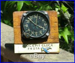 WW2 USN US NAVY Military 24 Hour Hr Aircraft Airplane Clock CDIA WALTHAM F-4
