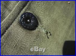 WW2 USN/USMC HBT Shirt/Jacket Wreath Stars Size 46 USN Stenciled on Pocket Medic