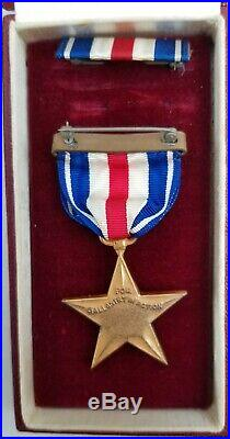 WW2 USN USMC Silver Star Medal Rare Red Box Navy Marine Corps