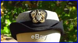 WW2 Women's Navy Officer Hat Cap Female WAVES Sterling Badge Named Seersucker