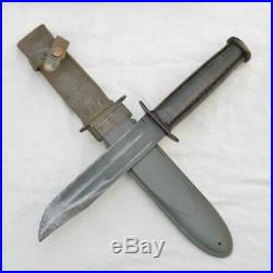WW2 era US Navy KA-BAR USN UDT fighting knife, orig 1943 NORD scabbard SCARCE