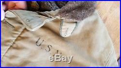 WWII ARTACTIFACT USA USN NAVY OLIVE GREEN DECK COAT JACKET NXsx 69446 Size 40