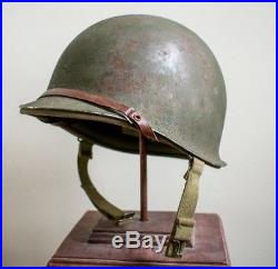 WWII Fixed Bale M1 Helmet 1st Pattern Hawley Liner Excellent WW2 Army USMC USN