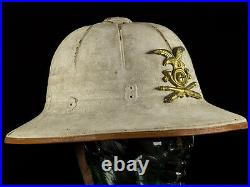 WWII German Italian Rare Pressed Fibre Tropical Helmet