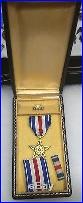 WWII Korea Army AAF USMC Marines USN Navy Cased Silver Star Medal Pin Award Box
