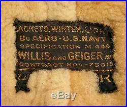 WWII M-444 U. S. Navy Flight Jacket 44R Willis & Geiger ID'ed Talon Zipper