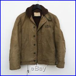 WWII Stenciled US Navy N-1 Deck Jacket Excellent Condition