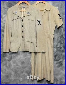 WWII U. S. Navy Waves Seersucker Uniform Dress and Tunic Jacket Named withTie