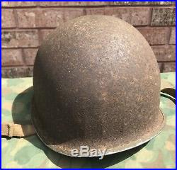 WWII US M1 Helmet, Fixed Bale With First Pattern Hawley Liner, Named Navy Surgeon