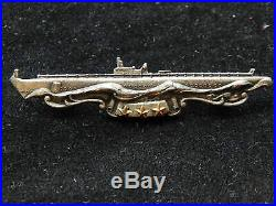WWII US Navy Submarine Combat Patrol BadgeGemsco Sterling with 3 Combat StarsNRs