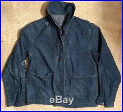 WWII US Navy USN Denim Jacket Deck Coat Named Aviation Ordnance Air Gunner