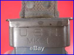 WWII US Navy USN Mark Mk 1 Fighting Knife RH Pal 35 withUSN Mk1 Scabbard