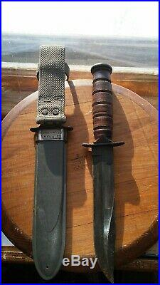 WWII USN Camillus MARK 2 Fighting Knife & USN Holster