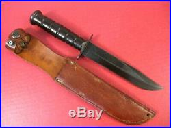 WWII USN Mark 2 Fighting Knife Guard Marked USMC Camillus NY withLeather Scabbard