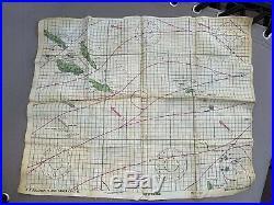 WWII WW2 U. S. Navy silk Escape Map Guadalcanal Solomon Islands Area & Air Medal
