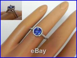 Wedding Engagement Ring 1.50 ct Round Cut Blue Tanzanite 14k White Gold Finish