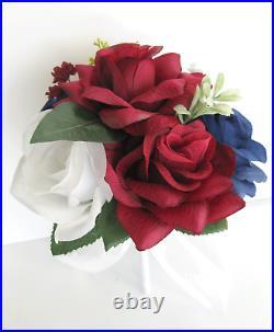 Wedding bouquets 17 piece package Bridal bouquet flowers BURGUNDY NAVY BLUE set