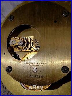 Working 1944 WWII Chelsea Clock U. S. Navy Brass Porthole'Radio Room' Ship Clock