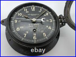 Working 1944 WWII U. S. NAVY Chelsea Clock Co. Bakelite Porthole Naval Ship Clock