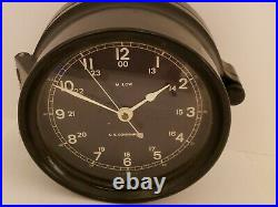 Working WWII U. S. Government Navy Military Bakelite Porthole Ship Clock M. LOW