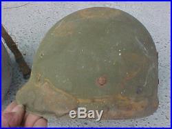Ww2 M1 Us Navy Gray Helmet Swivel Bail Front Seam Cardboard Liner