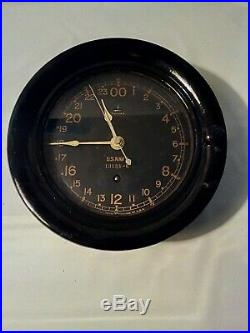 Ww2 Rare U. S. Navy Ship Board 24 Hour Clock, By Seth Thomas. Works Great
