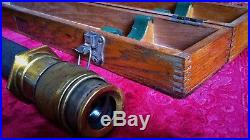 Wwii Vintage Us Navy Spyglass Officers Deck Telescope Brass & Leather Maritime